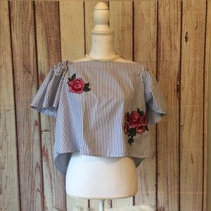 Tops - Embroidered flower off the shoulder crop top
